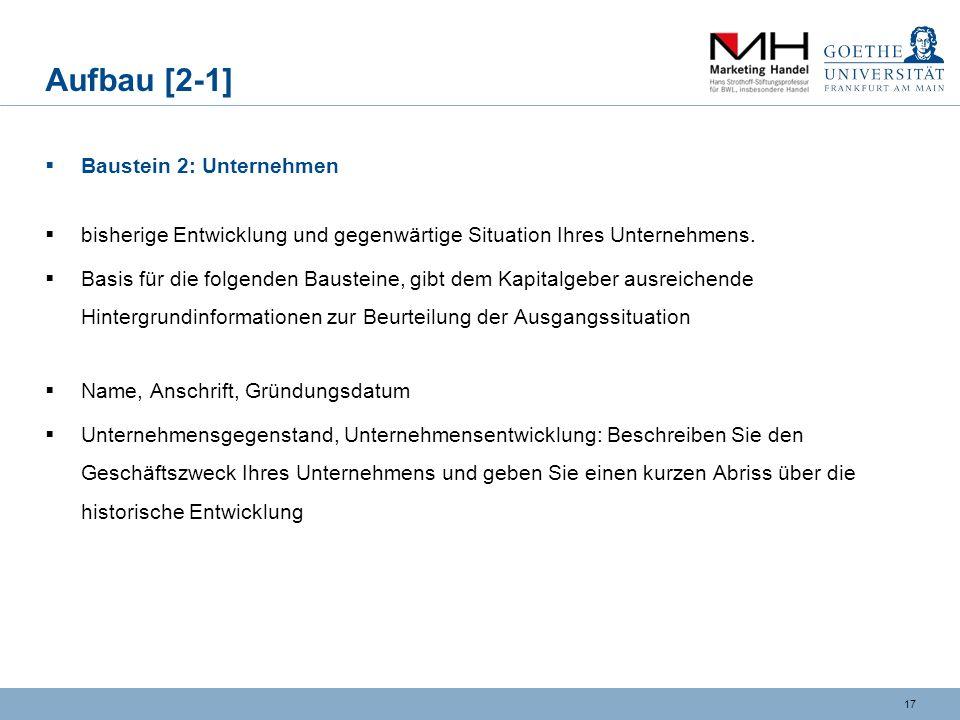 Aufbau [2-1] Baustein 2: Unternehmen